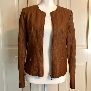 Baccini vegan leather bomber jacket petite M.